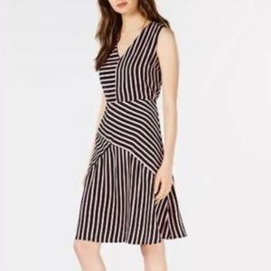 SLEEVELESS MIXED STRIPED MIDI FIT AND FLARE